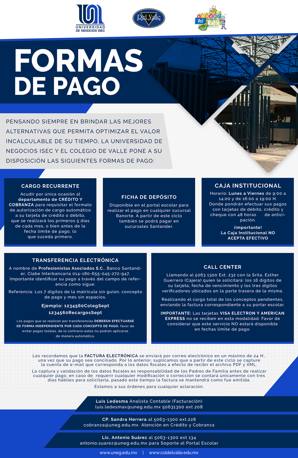 Colegio Del Valle - Formas de pago