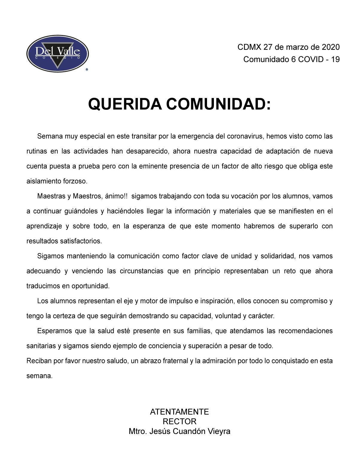 Colegio Del Valle - Comunicado del 27 marzo sobre COVID-19