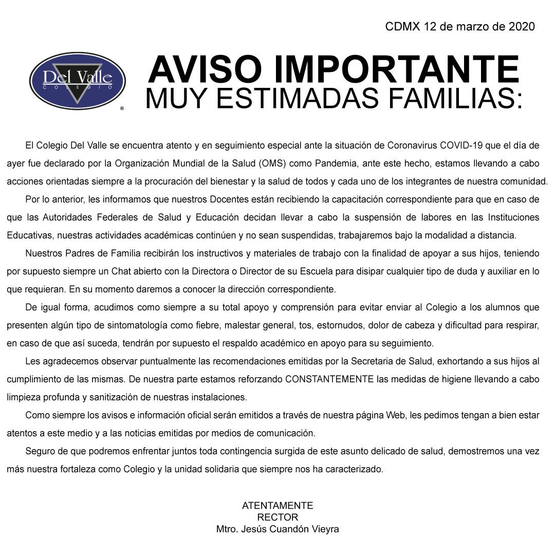 Colegio Del Valle Comunicado del 12 marzo sobre COVID-19