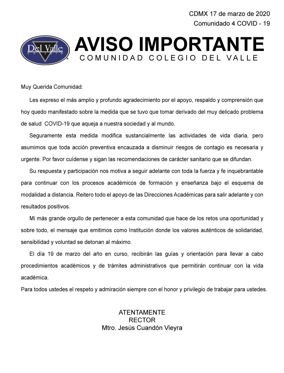 Colegio Del Valle Comunicado del 17 marzo sobre COVID-19