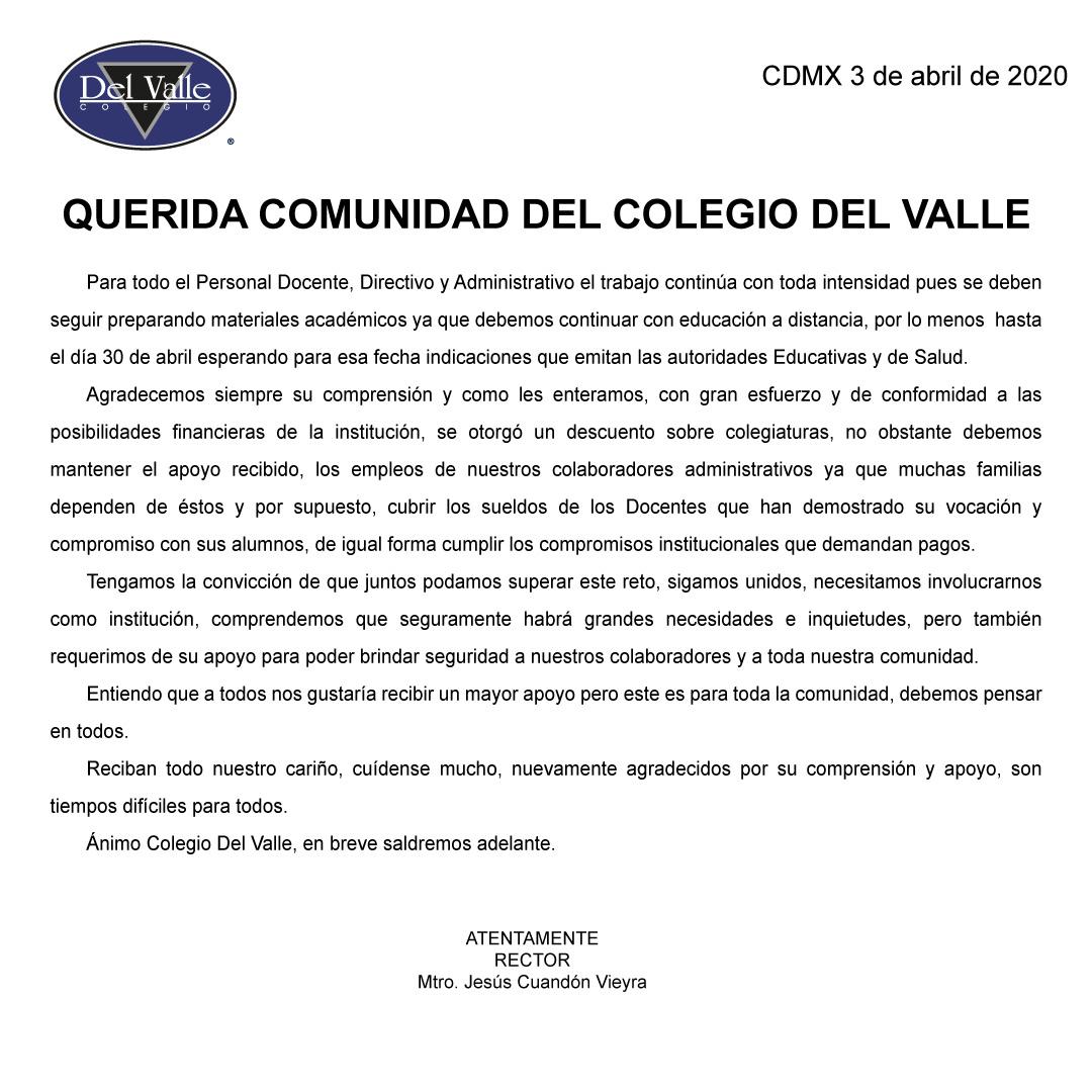 Colegio Del Valle - Comunicado del 03 de abril sobre COVID-19